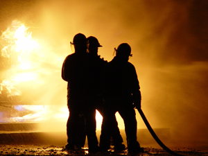 Photo of firemen fighting a fire