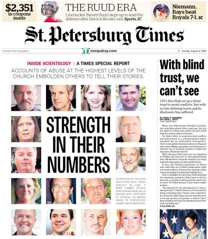 Front page showing Scientology whistleblowers in the St Pete Times