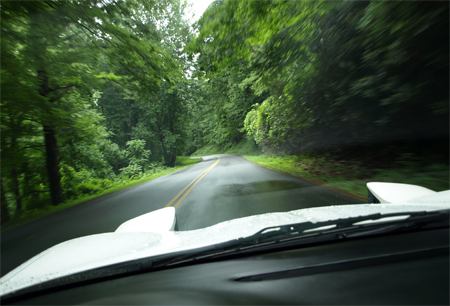 Shot driving the Blue Ridge Parkway