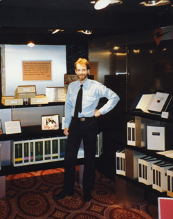 Photo of Steve Hall at the Preservation Exhibit, Flag, 1993